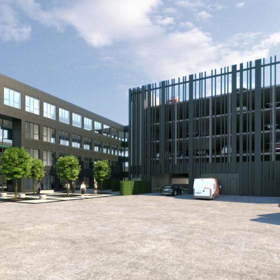 Bechtle Campus Visualisierung Innenhof und Parkhaus